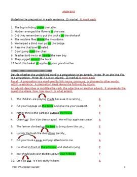 Preposition, Adverb, Prepositional Phrase Quiz