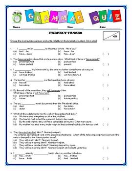 Perfect Tenses Quiz/Assessment
