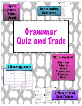 Grammar Quiz and Trade 6 Game Bundle {Differentiated}