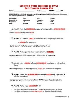 Grammar Quiz - Strunk & White Rules 1-10