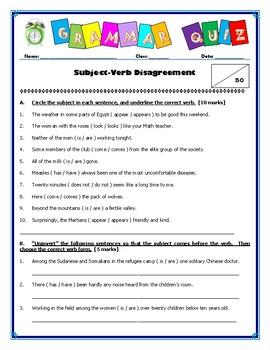 Grammar Quiz - Subject-Verb Disagreement