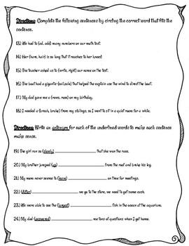Grammar Quiz- Synonyms, Antonyms, and Homophones