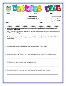 Grammar Quiz - Trimming Sentences