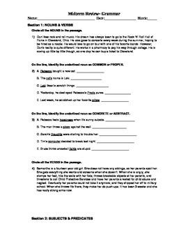 Grammar Quiz w/ Key- POS Subject Predicate Fragments Run-Ons