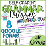 Grammar Quizzes 4.L.1 Google Forms 4th Grade Distance Learning