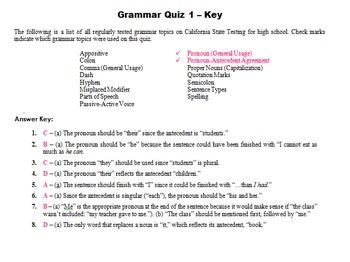 Grammar Quizzes (7th Grade) just like the STAR exam!