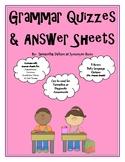 Grammar Quizzes & Answer Sheets