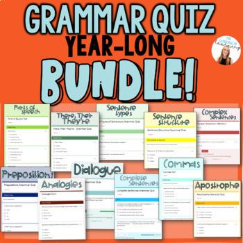 Grammar Quizzes GROWING BUNDLE! - 7+ Grammar Assessments on Google Forms