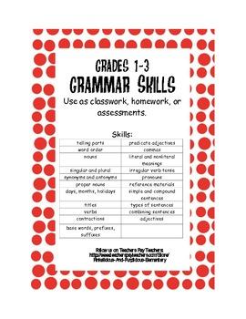 Grammar Quizzes or Worksheets Grades 1-3 Grammar Skills