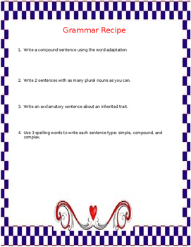 Grammar Recipe : Science and Sentence Types