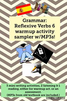 Grammar: Reflexive Verb 6 warmup activity sampler (listening, reading, writing)