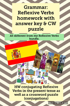 Grammar: Reflexive Verbs (present tense) conjugating HW with answer key