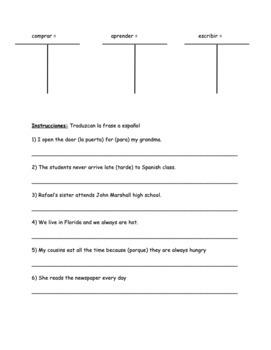 Grammar: Regular Present Tense ar/er/ir verb review sheet