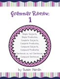 Grammar Reivew 1:  Subjects, Predicates, Sentences and more Task Cards