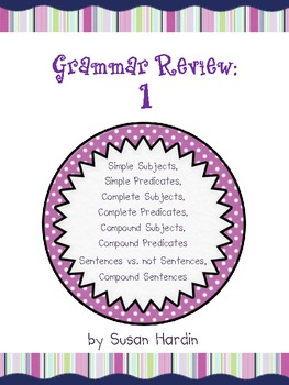 Grammar Reivew 1:  Subjects, Predicates, Sentences and mor