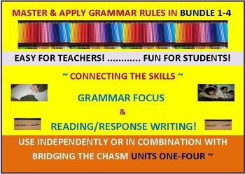 CCSS: Grammar & Response Writing BUNDLE 1-4: All with original short stories!