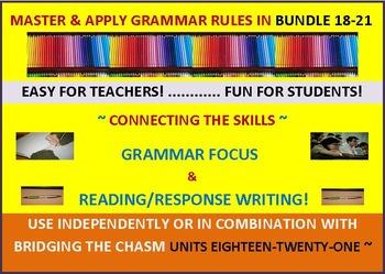 CCSS: Grammar & Response Writing BUNDLE 18-21 All with original short stories!