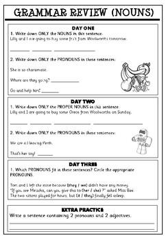 Grammar Review Activity Page (Nouns)