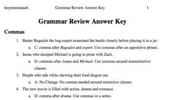 Grammar Review Game