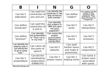 grammar review human bingo