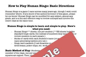 Grammar Review: Human Bingo!