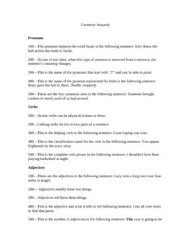 Grammar Review---Jeopardy!