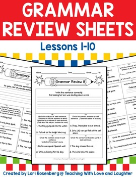 Grammar Review Sheets Lessons 1-10