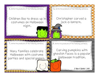 Grammar Review Task Cards Halloween Themed