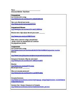 Grammar Review Task Sheet