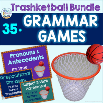 Grammar Review Trashketball Games Bundle (30 Games)