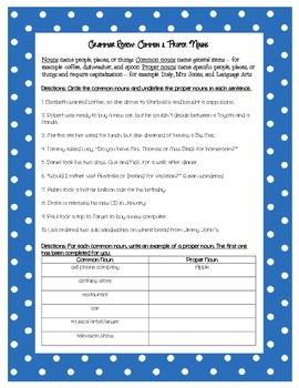 Grammar Review Worksheet Common Proper Nouns By Middle Grades Mania
