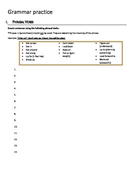 Grammar Review Worksheet: Phrasal verbs, prepositions, and