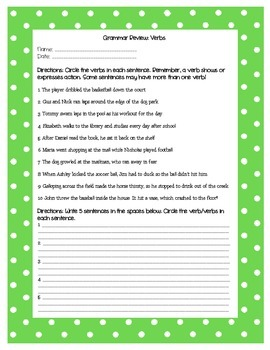 Grammar Review Worksheet - Verbs