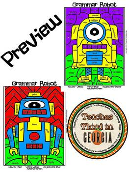 Grammar Robots! Parts of Speech Grammar Mosaic- Color By Part of Speech