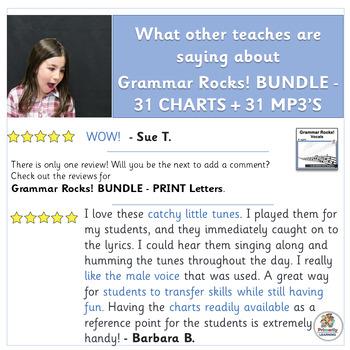 Grammar Rocks! BUNDLE includes 31 mp3's, and classroom grammar charts! (SASSOON)
