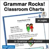 Grammar Rocks! Classroom Charts = 31 Grammar Minilessons | Grammar is Fun!