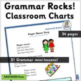Grammar Rocks! Classroom Charts =31 Minilessons (SASSOON) | Grammar is Fun!
