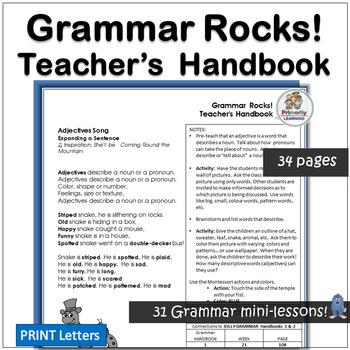 Grammar Rocks! Teacher Handbook with verses & notes for 31