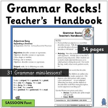 Grammar Rocks! Teacher Handbook-verses & notes for 31 grammar lessons. (SASSOON)