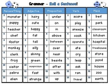 Grammar Roll a Sentence Pack