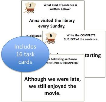 Grammar Roundup Task Cards - Types of sentences