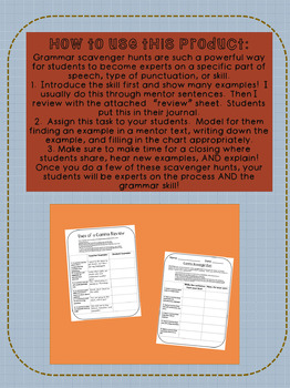 Grammar Scavenger Hunt and Review: Prepositions