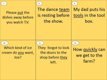 Grammar Scoot Game - Parts of Speech, ELA Review