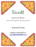 Grammar Scoot Game - nouns, verbs, adj., adv, & pronouns