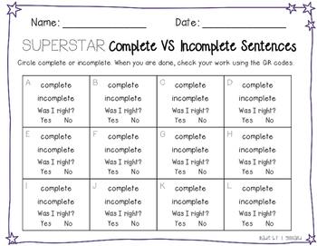 Grammar Scoot - Simple Sentences with QR Codes