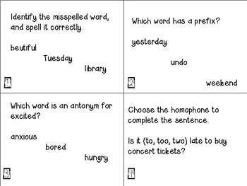 Grammar Scoot Task Cards, 4th grade
