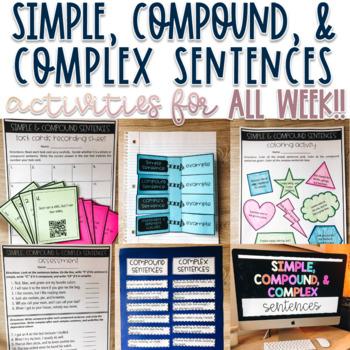 Grammar - Simple, Compound, Complex Sentences Activities - Common Core Aligned