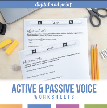 Active and Passive Voice in Verbs: Worksheet and Scramble