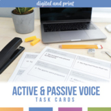 Active and Passive Voice Task Cards and Scramble