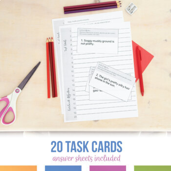Coordinate Adjectives Task Cards and Worksheet